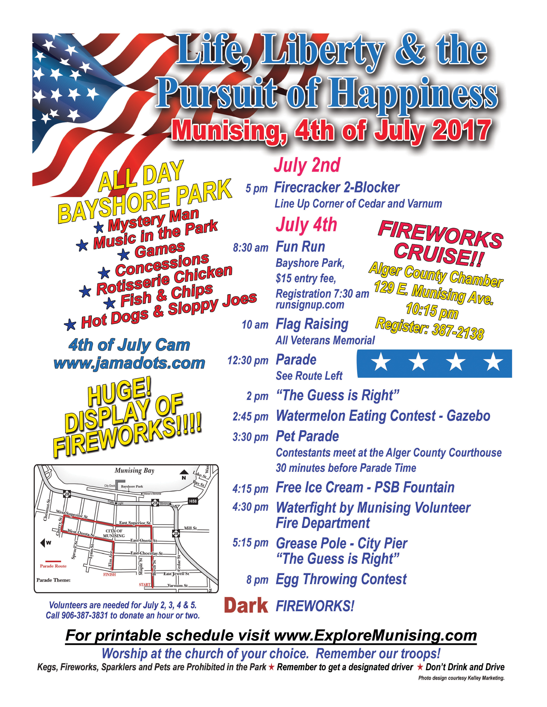 Michigan alger county munising - Fun Run Flag Raising Parade Food Games Music And The Best Fireworks At Dusk On The Bay