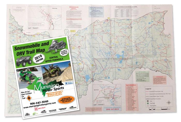 Central Upper Peninsula MI snowmobile map