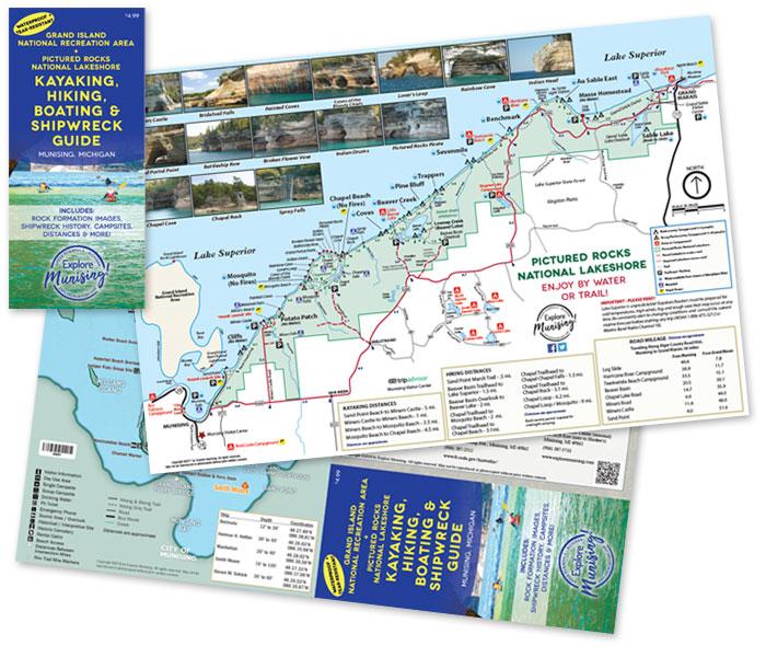Waterproof kayaking hiking map of Pictured Rocks